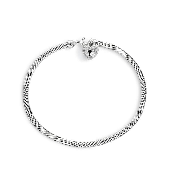 Cable Collectibles Heart Lock Bracelet with Diamonds, 3mm