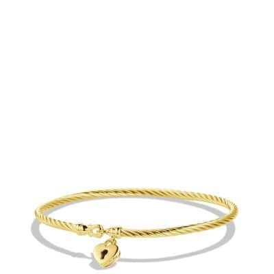 Cable Collectibles Heart Lock Bracelet in Gold
