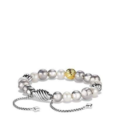 DY Elements Bracelet with Pearls and 18K Gold, 8mm