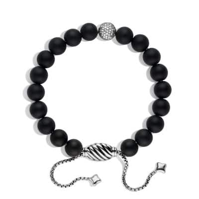 Spiritual Beads Black Onyx Bracelet with Diamonds