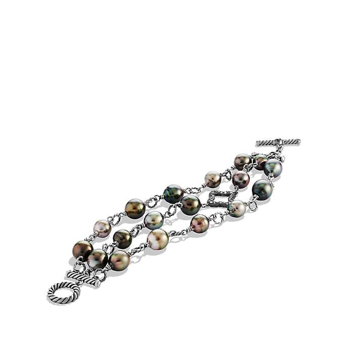 Three-Row Bracelet with Pearls and Diamonds