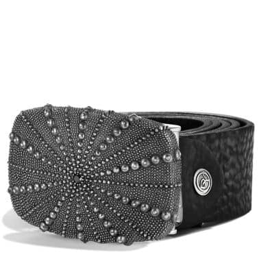 Sea Urchin Belt Buckle with Black Diamonds