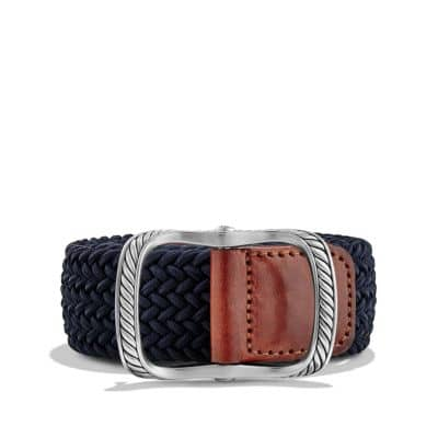 Maritime Cable Buckle with Blue Woven Belt