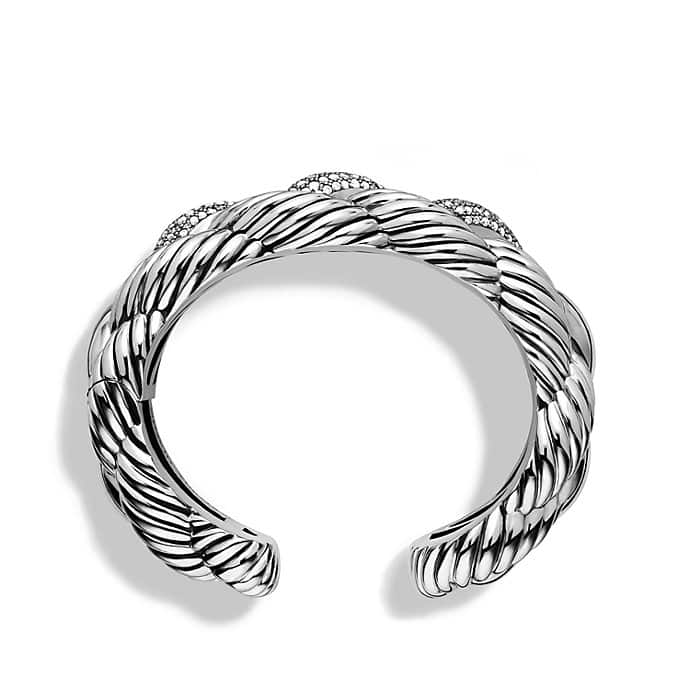 Woven Cable Wide Cuff Bracelet with Diamonds