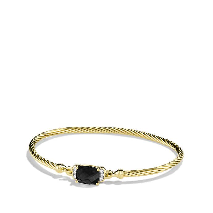 Petite Wheaton Bracelet with Black Onyx and Diamonds in Gold