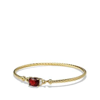 Petite Wheaton Bracelet with Garnet and Diamonds in Gold