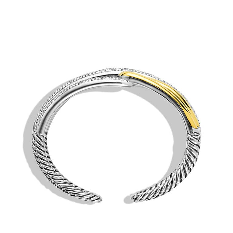 Labyrinth Double-Loop Cuff Bracelet Bracelet with Diamonds and Gold