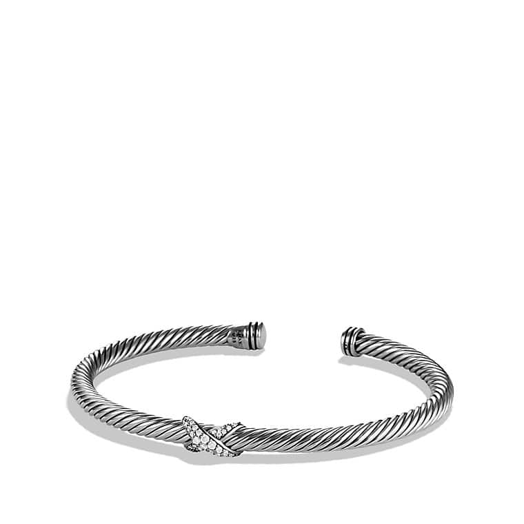 X Station Bracelet with Diamonds, 4mm