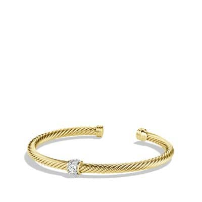 Cable Classics Bracelet with Diamonds in 18K Gold, 4mm thumbnail