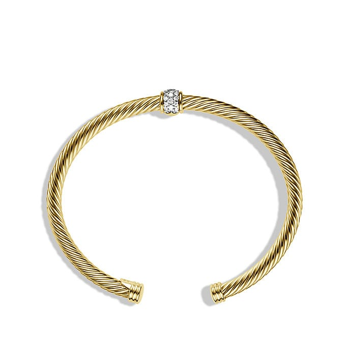 Cable Classics Bracelet with Diamonds in 18K Gold, 4mm