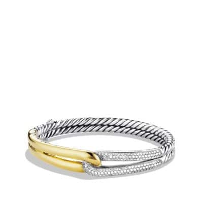 Labyrinth Single-Loop Bracelet with Diamonds and 18K Gold