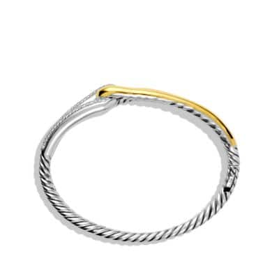 Labyrinth Single-Loop Bracelet with Diamonds and 18K Gold, 10mm