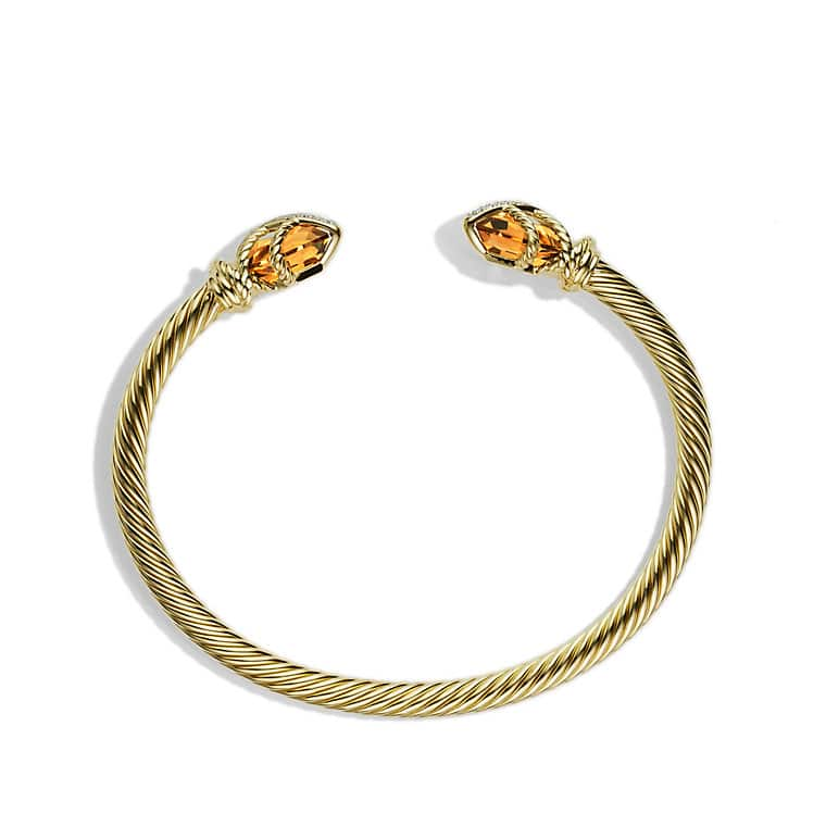 Cable Wrap Bracelet with Champagne Citrine and Diamonds in Gold