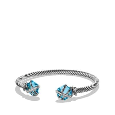 Cable Wrap Bracelet with Blue Topaz and Diamonds