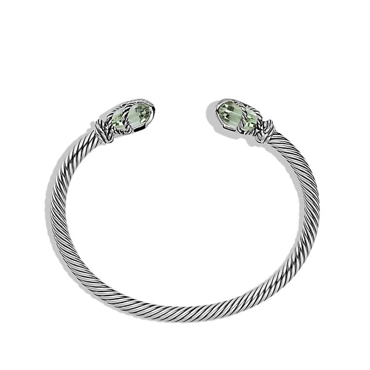 Cable Wrap Bracelet with Prasiolite and Diamonds