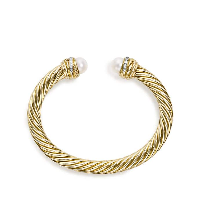 Crossover Bracelet with Pearls and Diamonds in 18K Gold