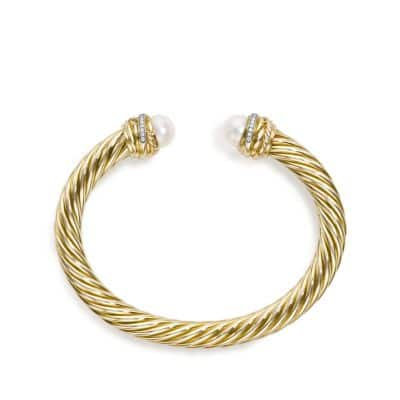 Cable Classic Crossover Bracelet with Pearls and Diamonds in 18K Gold, 7mm