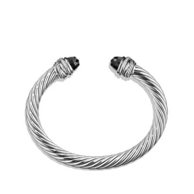 Cable Classic Crossover Bracelet with Black Onyx and Diamonds, 7mm