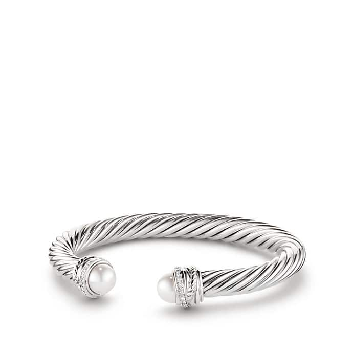 Cable Classic Crossover Bracelet with Pearls and Diamonds, 7mm