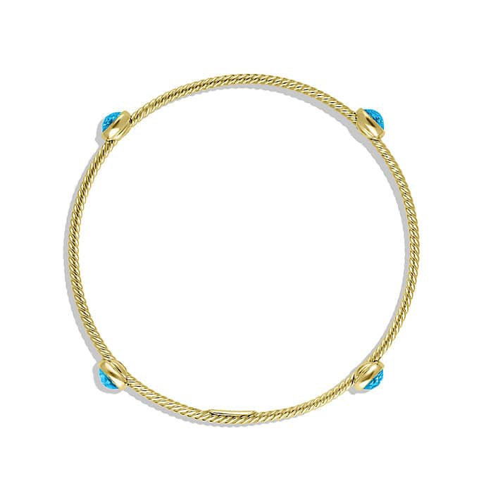 Color Classics Four-Station Bangle with Blue Topaz in Gold