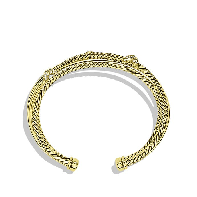 X Crossover Cuff Bracelet with Diamonds in Gold