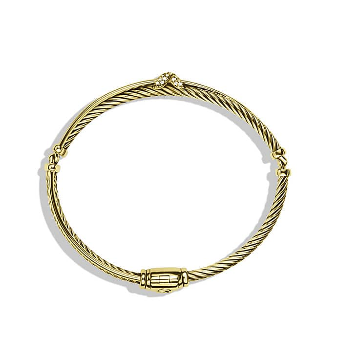 X Crossover Bracelet with Diamonds in Gold