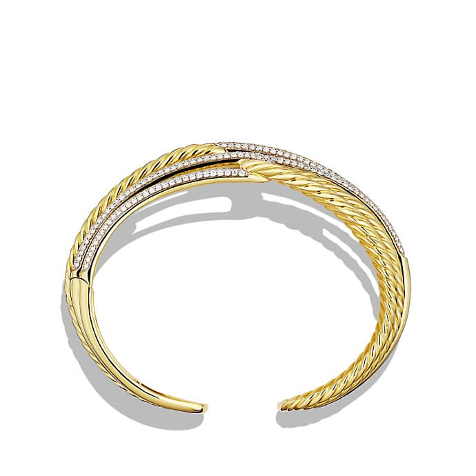 Labyrinth Triple-Loop Cuff Bracelet Bracelet with Diamonds in Gold