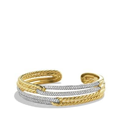 Labyrinth Double-Loop Cuff Bracelet Bracelet with Diamonds in Gold