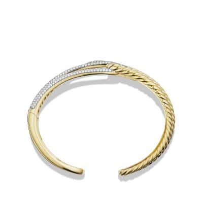 Labyrinth Double-Loop Cuff Bracelet Bracelet with Diamonds in 18K Gold, 14mm