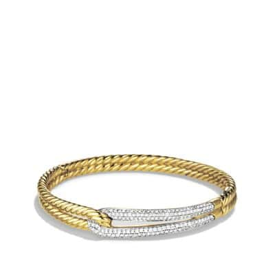 Labyrinth Single-Loop Bracelet with Diamonds in Gold