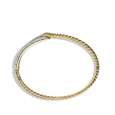Labyrinth Single-Loop Bracelet with Diamonds in 18K Gold, 8mm