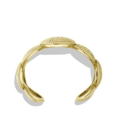 Cable Coil Cuff Bracelet with Diamonds in Gold