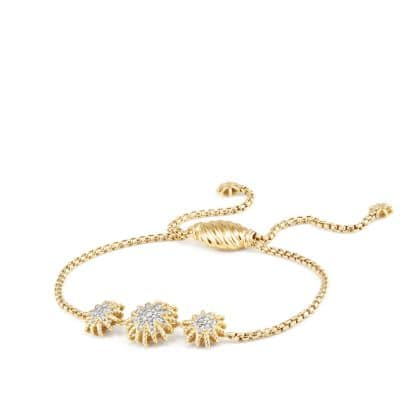 Starburst Three-Station Bracelet with Diamonds in 18K Gold