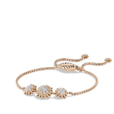 Starburst Three-Station Bracelet with Diamonds in Rose Gold