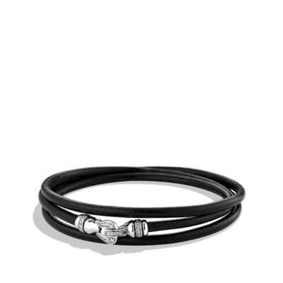 Petite Pavé Cable Buckle Triple-Wrap Bracelet in Black with Diamonds