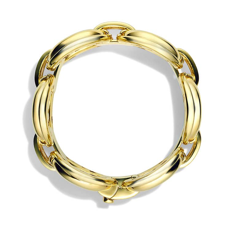 Oval Large Link Bracelet with Diamonds in Gold