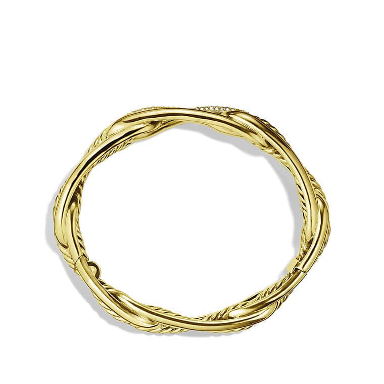 Labyrinth Link Bracelet with Diamonds in Gold