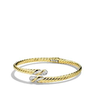 Willow Open Single-Row Bracelet with Diamonds in Gold