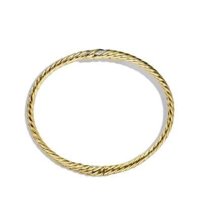 Willow Open Single-Row Bracelet with Diamonds in 18K Gold, 11mm