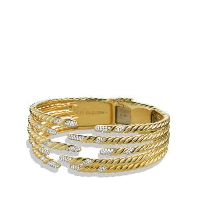 Willow Five-Row Bracelet with Diamonds in 18K Gold