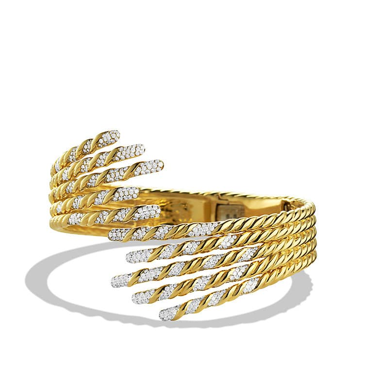 Willow Open Five-Row Bracelet with Diamonds in Gold