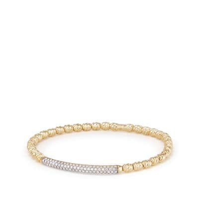 Petite Pavé Bracelet in 18K Gold  with Diamonds, 3mm