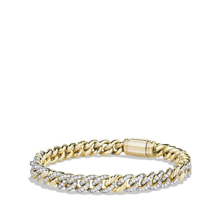 Petite Pavé Curb Link Bracelet with Diamonds in Gold