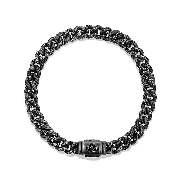 Petite Pavé Curb Link Bracelet with Black Diamonds