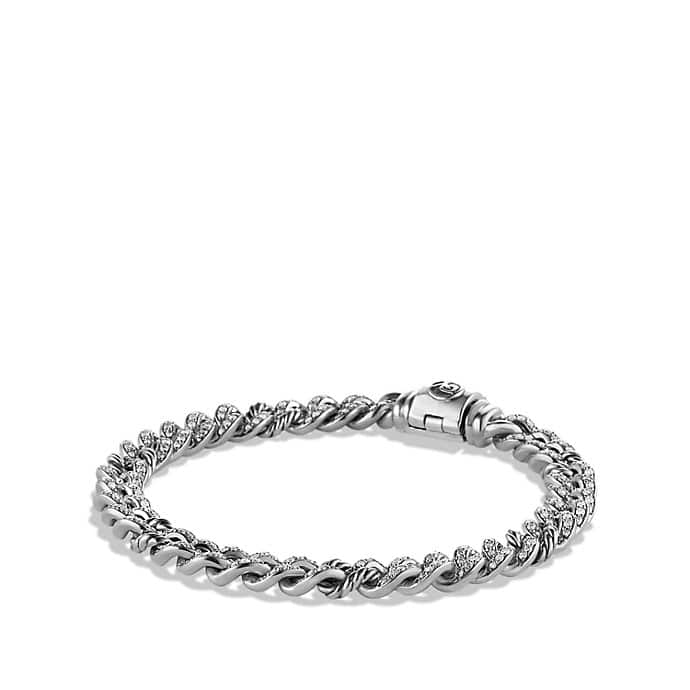 Petite Pavé Curb Link Bracelet with Diamonds