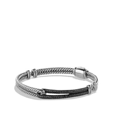 Petite Pavé Labyrinth Single-Loop Bracelet with Black Diamonds