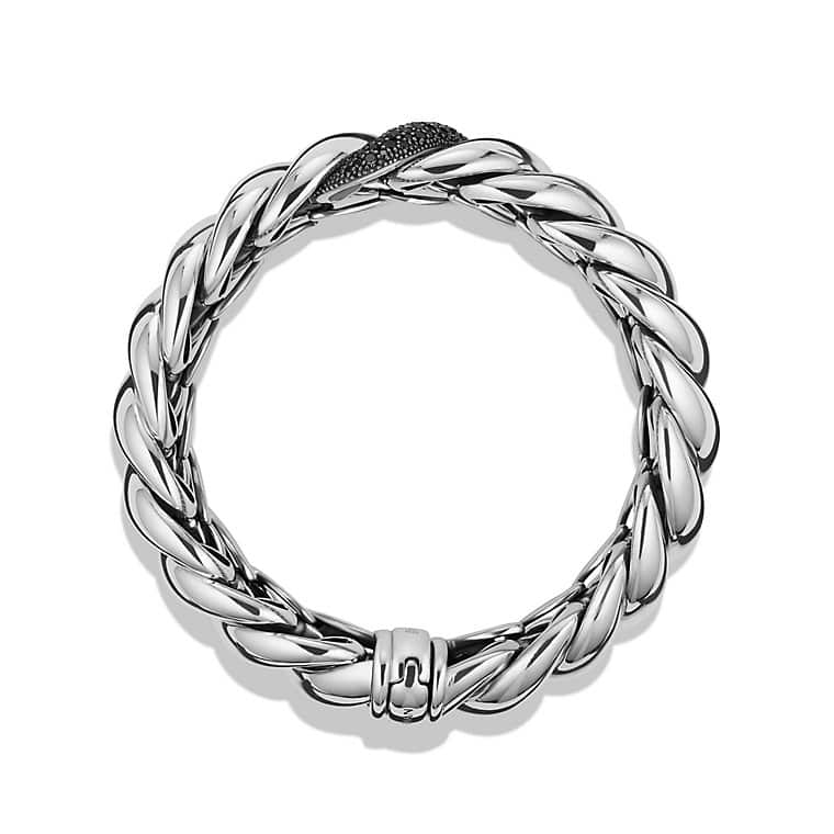 Hampton Cable Narrow Bracelet with Black Diamonds