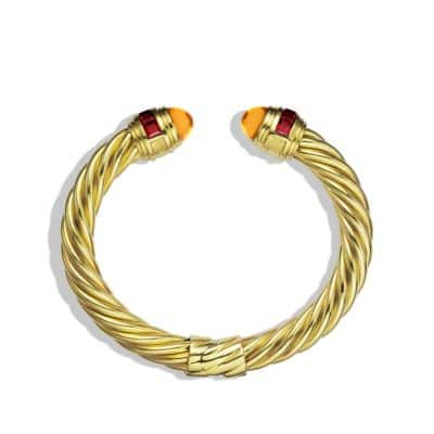 Renaissance Bracelet with Citrine and Rhodolite Garnet in 18K Gold, 8.5mm