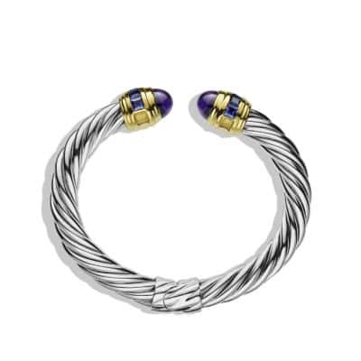 Renaissance Bracelet with Amethyst, Iolite, and Gold, 8.5mm