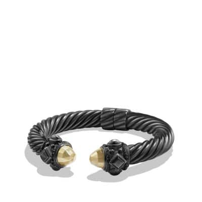 Bracelet with Gold dome and Black Diamonds, 10mm